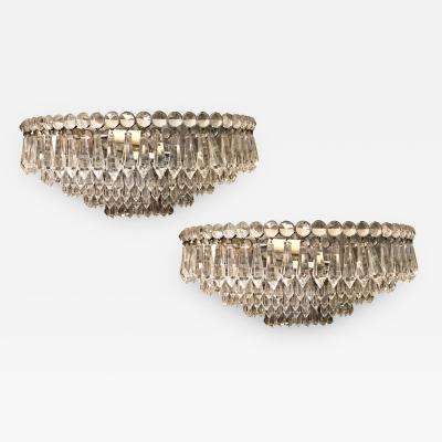 Pair of Moderne Crystal Sconces