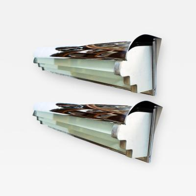 Pair of Modernist Art Deco Wall Lights in Glass and Chrome
