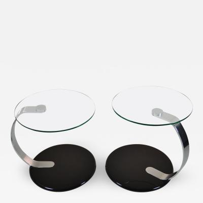 Pair of Modernist Chrome and Glass Tables