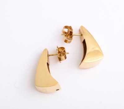 Pair of Modernist Diamond and Gold 14 k Earrings