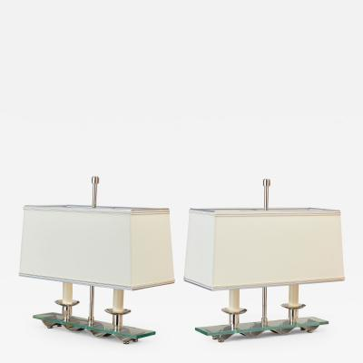 Pair of Modernist Nickeled Brass Lamps