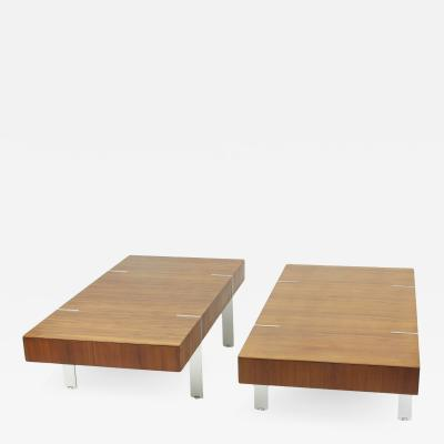 Pair of Modernist Walnut Coffee Tables 1980