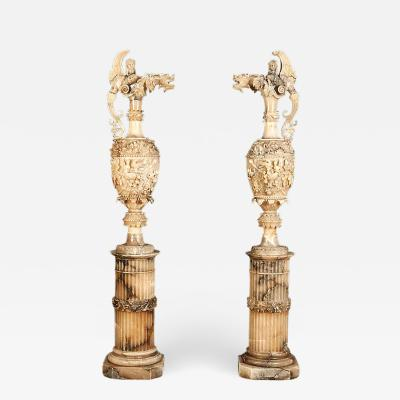 Pair of Monumental Alabaster Sculptures in the Neo Renaissance Manner