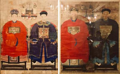 Pair of Monumental Ancient Ancestor Portraits Chinese Paintings on Rice Paper
