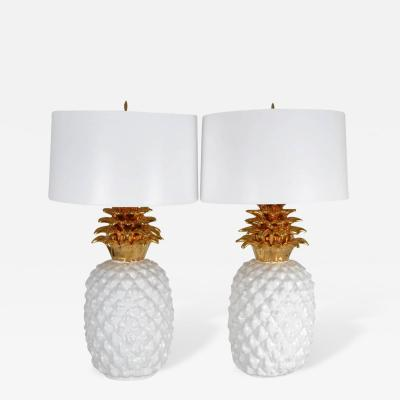 Pair of Monumental Ceramic Pineapple Form Lamps Italy circa 1970s