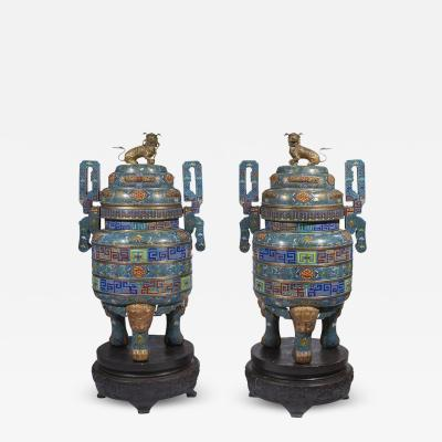 Pair of Monumental Chinese Blue Cloisonn Enamel Censers Early 20th Century