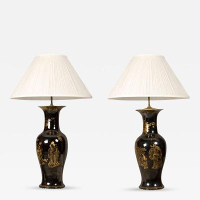 Pair of Monumental Chinese Porcelain Urn Lamps