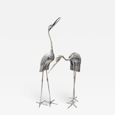 Pair of Monumental Egrets in Etched Aluminum 1970s