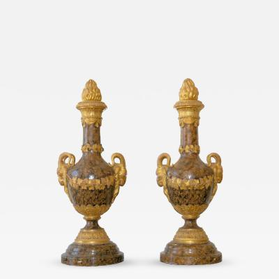 Pair of Monumental Giltwood and Faux Marble Urns