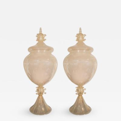 Pair of Monumental Opaline Glass Urn Form Lamps