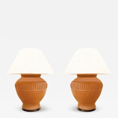 Pair of Monumental Terracotta Table Lamps 1970s