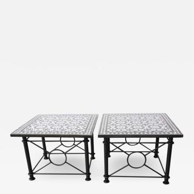Pair of Moroccan Fez Mosaic Tables in Black and White Tiles