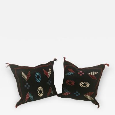 Pair of Moroccan Hand Loomed Wool Pillows