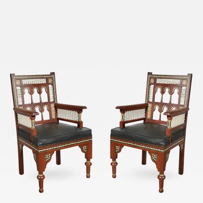 Pair of Moroccan Moorish Armchairs