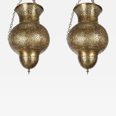 Pair of Moroccan Polished Brass Chandeliers