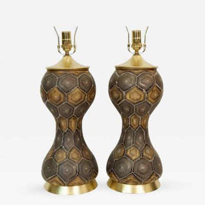 Pair of Moroccan Style Painted Glass Table Lamps with Gold Leaf Accents