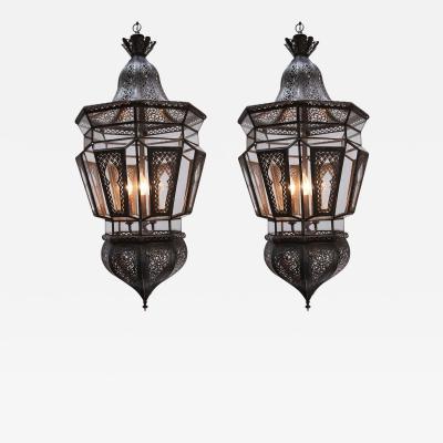 Pair of Moroccan Vintage Hanging Glass Light Fixtures