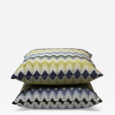 Pair of Multi Color Chevron Pattern Pillows Jim Thompson Fabric