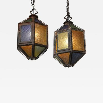 Pair of Multi Color Glass and Tole Lanterns