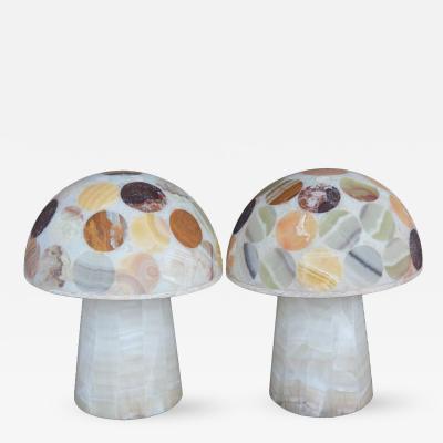 Pair of Multi Coloured Onyx Mushroom Lamps