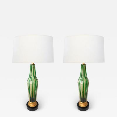 Pair of Murano 1960s Art Glass Lamps with Applied Green Decoration