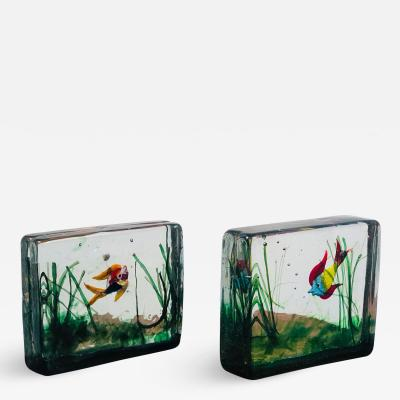 Pair of Murano Art Glass Fish Aquarium Paperweights