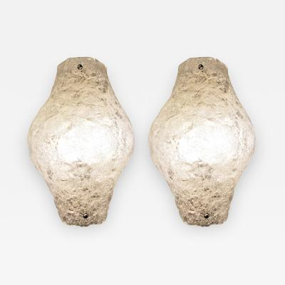 Pair of Murano Glass Sconces or Flush Mounts