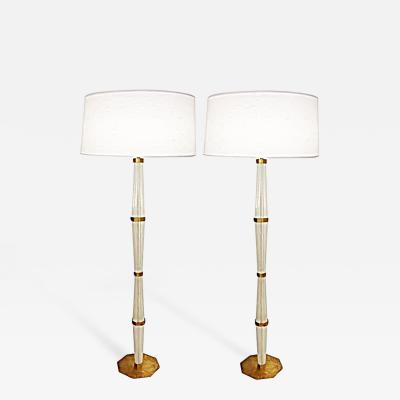 Pair of Murano Glass and Brass Floor Lamps