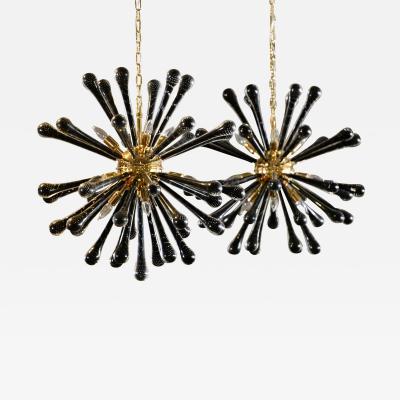 Pair of Murano Hanging Sputnik Pendant Lights