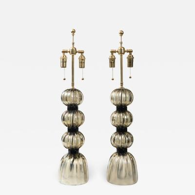 Pair of Murano Irredescent Gray Lamps Contemporary