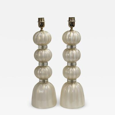 Pair of Murano Opaline Gold Lamps contemporary