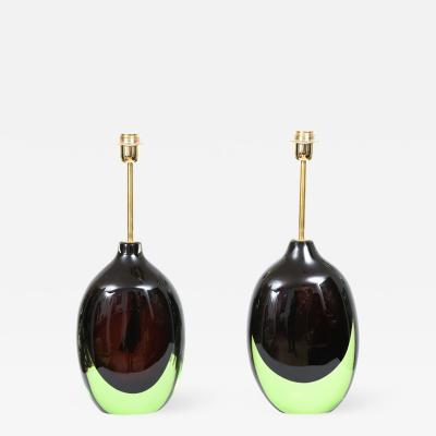 Pair of Murano Sommerso Table Lamps