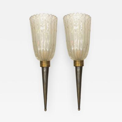 Pair of Murano Torchieres Wall Sconces