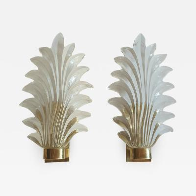 Pair of Murano clear glass brass leaf sconces Mid Century Modern 1970s