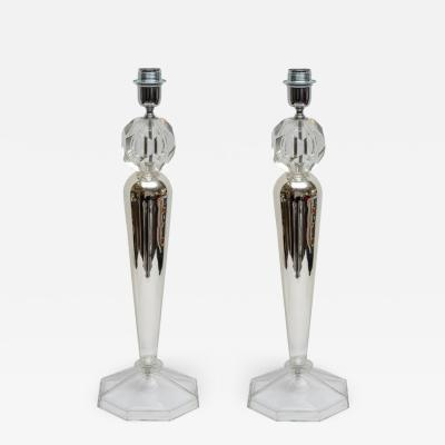Pair of Murano glass and crystal table lamps