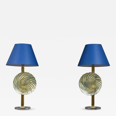 Pair of Murano glass blue shades table lamps