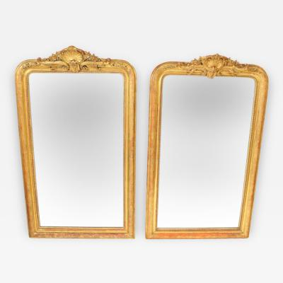 Pair of Napoleon III Gilt Wood Mirrors
