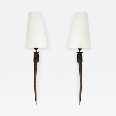Pair of Natural Horn and Bronze Sconces