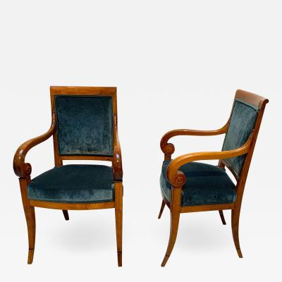 Pair of Neoclassical Armchairs Walnut Solid Green Velvet France circa 1830