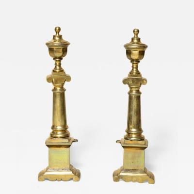 Pair of Neoclassical Brass Andirons