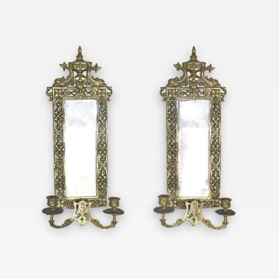 Pair of Neoclassical Brass Mirrored Candle Sconces
