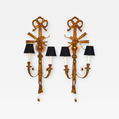 Pair of Neoclassical Giltwood Two Arm Wall Sconces