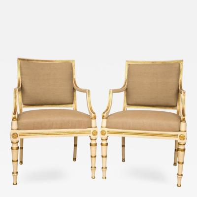 Pair of Neoclassical Parcel Gilt Upholstered Armchairs