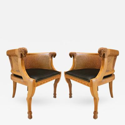 Pair of Neoclassical Style Rams Head Birchwood Bergeres Chairs