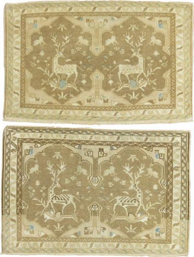 Pair of Neutral Tabriz Pictorial Reindeer Mats rug no 31347