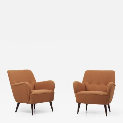 Pair of New Upholstered Lounge Chairs Germany 1950s