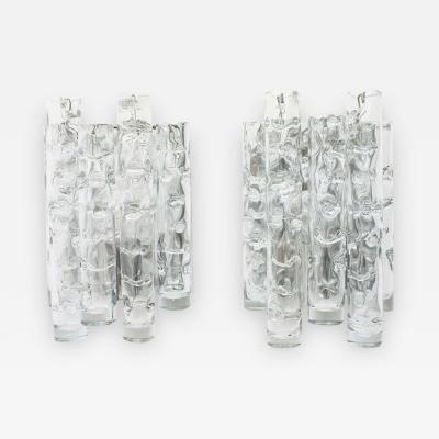 Pair of Nice Glass Wall Sconces by Doria Germany 1960s