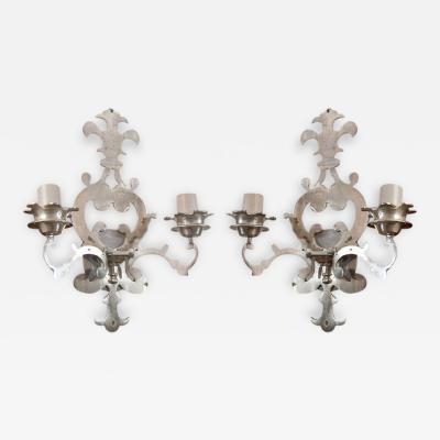 Pair of Nickel Plated Brass Fleur de Lis Wall Sconces