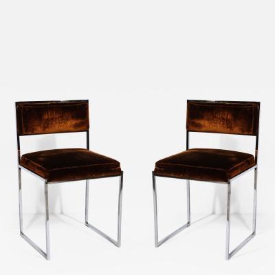 Pair of Nickel Side Chairs