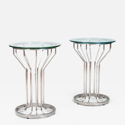 Pair of Nickel and Glass Circular Side Tables